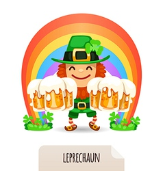Lucky leprechaun with a beer in front of a rainbow vector