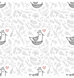 Seamless floral pattern with birds in the nest vector image