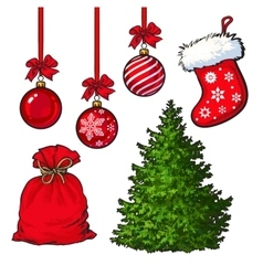Set of Christmas tree red decoration balls boot vector image