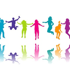 Set of colorful children silhouettes jumping vector image