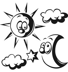 Sun moon cloud and star - black outline vector