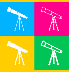Telescope simple sign four styles of icon on four vector