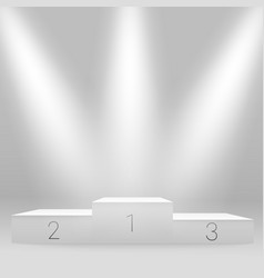 white illuminated sport podium mockup award vector image