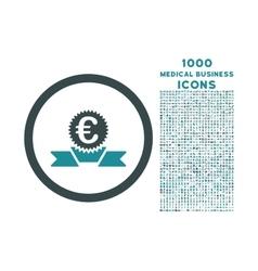 Euro Award Ribbon Rounded Icon with 1000 Bonus vector image