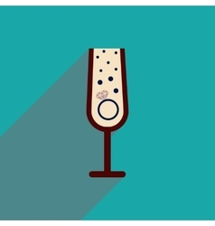 Flat icon with long shadow glass champagne ring vector