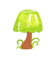 Tree with jelly crown and chocolate trunk fantasy vector