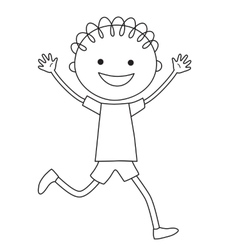 Running boy in black and white color vector