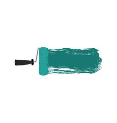Colorful silhouette of paint roller with paint vector