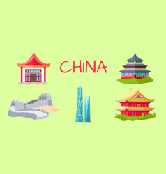 China travelling elements for tourists on green vector