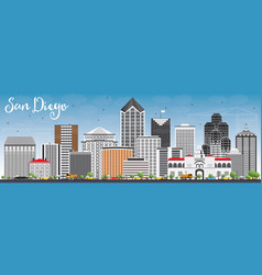 san diego skyline with gray buildings and blue sky vector image