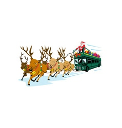 Santa claus driving bus vector