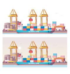 Low poly 2d cargo port vector