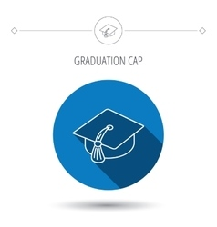 Graduation cap icon diploma ceremony sign vector