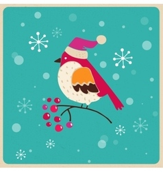 Christmas tree with bird Greeting card vector image