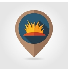 Autumn grass flat mapping pin icon vector
