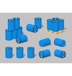 Cube world blue plastic barrels vector