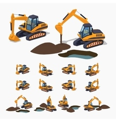 Yellow excavator special machinery vector