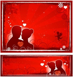Valentines day lovers banners vector