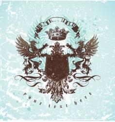 vintage emblem with griffins vector image