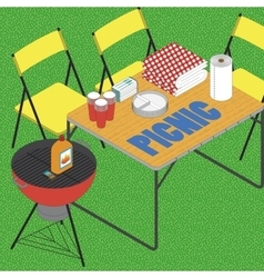 Bbq on grass ilustration vector