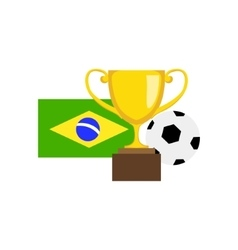 Ball championship prize and brazilian flag vector