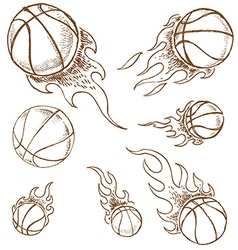 basket ball set vector image vector image