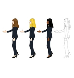 Business woman long hair hand shake vector