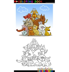 Cartoon Dogs for Coloring Book or Page vector image vector image