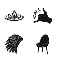 chair diadem and other web icon in black style vector image vector image