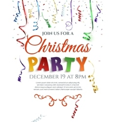 Christmas party poster with confetti and ribbons vector image