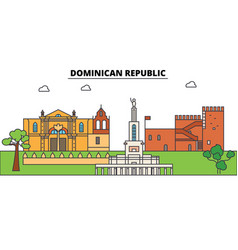 Dominican republic outline skyline dominican flat vector