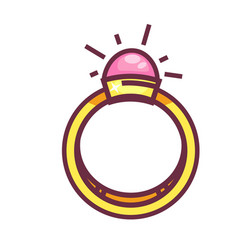 engagement ring with big round gemstone isolated vector image