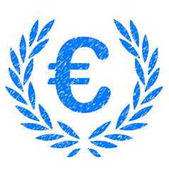 Euro laurel wreath grunge icon vector