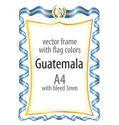 frame and border with the coat of arms and ribbon vector image vector image