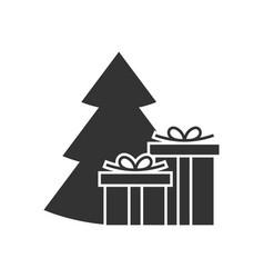 giftbox at the christmas tree icon vector image vector image