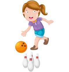 Girl bowling vector