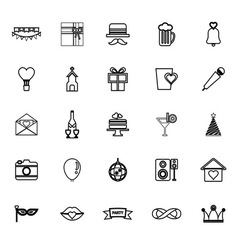 Happy anniversary line icons on white background vector
