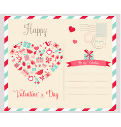 holiday postcard with elements for valentines day vector image