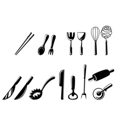 isolated kitchen tools set vector image vector image