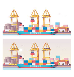 Low poly 2d cargo port vector