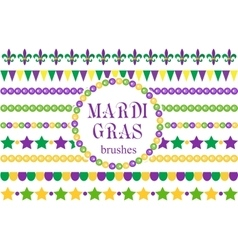 Mardi Gras borders set Cute beads fleur de lis vector image