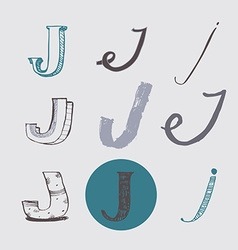 Original letters j set isolated on light gray vector