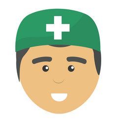 Professional face doctor with hat vector