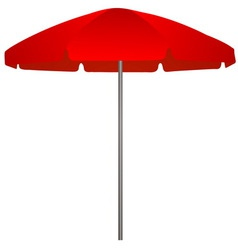 Red beach umbrella on white background vector