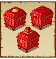 Red closed boxes three Royal items vector image vector image