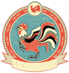rooster label vector image