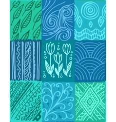 seamless pattern hand drawn patchwork vector image