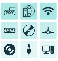 Set of 9 computer hardware icons includes dynamic vector