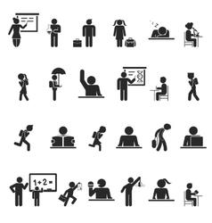Set of black school children silhouette icons vector