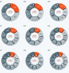 Set of circle chart infographic templates with 4 vector